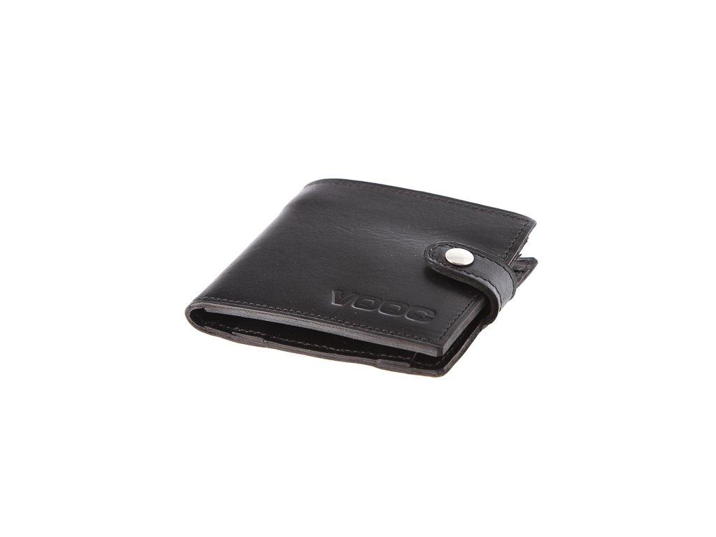 Kompaktní peněženka z pravé kůže unisex Vintage; černá