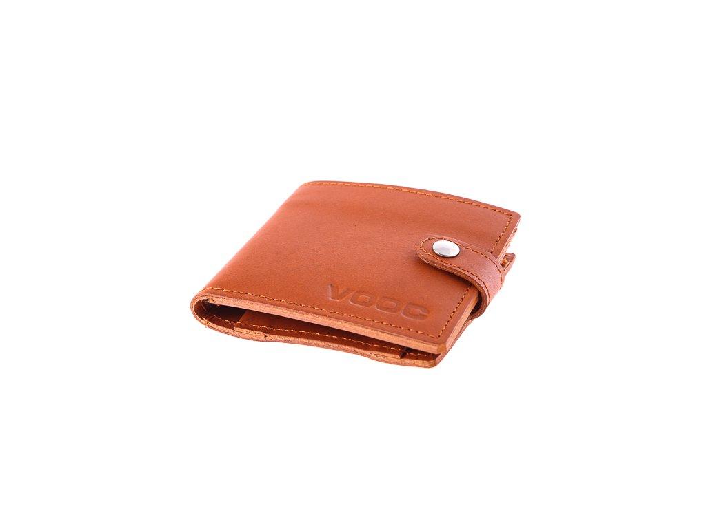 Kompaktní peněženka z pravé kůže unisex Vintage; koňak