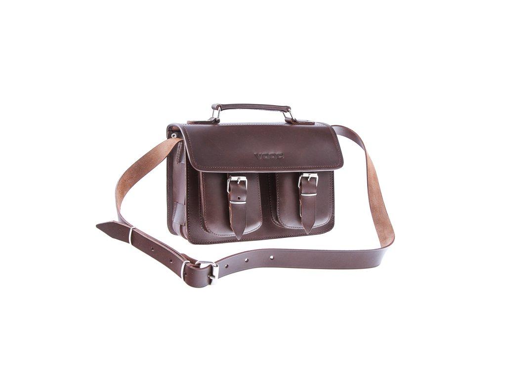 Menší stylová kožená taška VOOC Vintage; hnědá