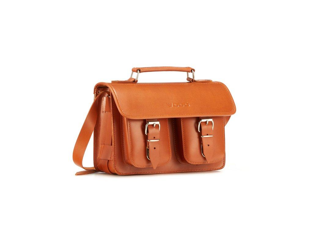 Menší stylová kožená taška VOOC Vintage; koňak
