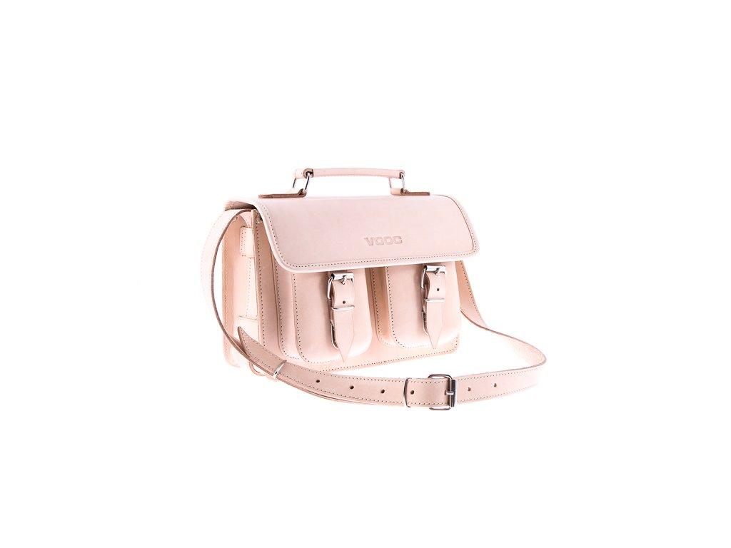 Menší stylová kožená taška VOOC Vintage; béžová
