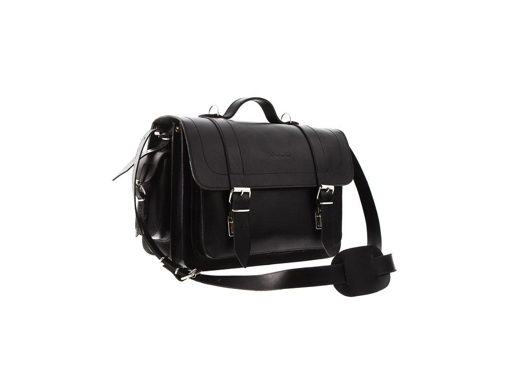 Větší pracovní taška ručně šitá VOOC pravá kůže; černá