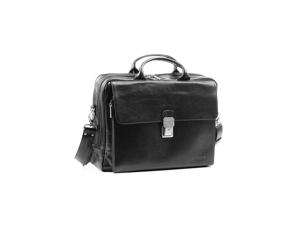 Taška na notebook z pravé kůže Prestige; černá
