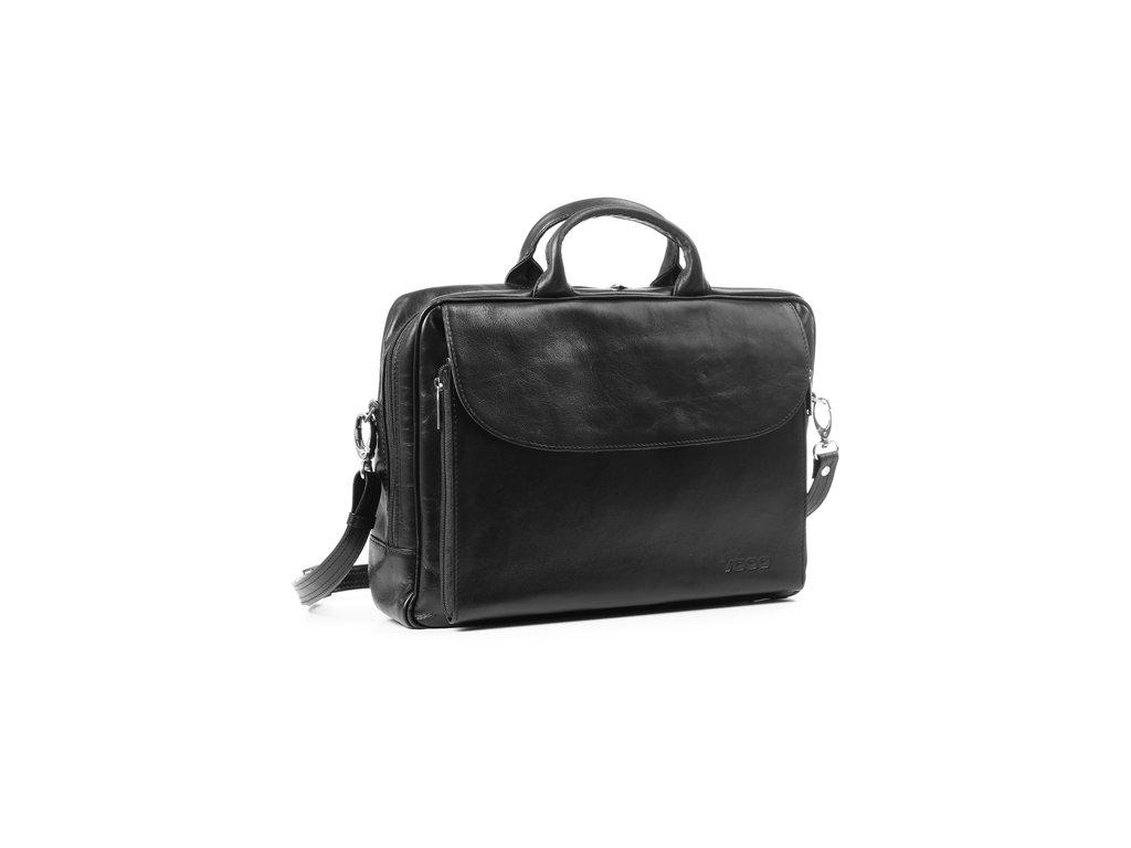 Kožená taška na notebook VOOC Prestige; černá