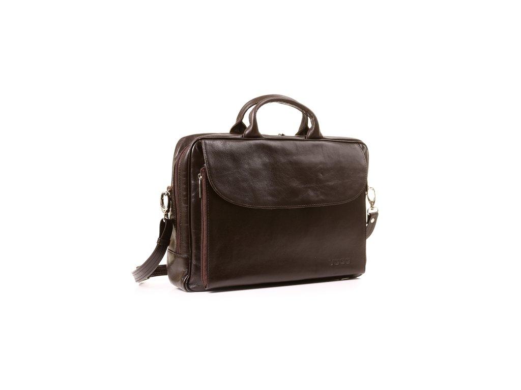 Kožená taška na notebook VOOC Prestige; hnědá