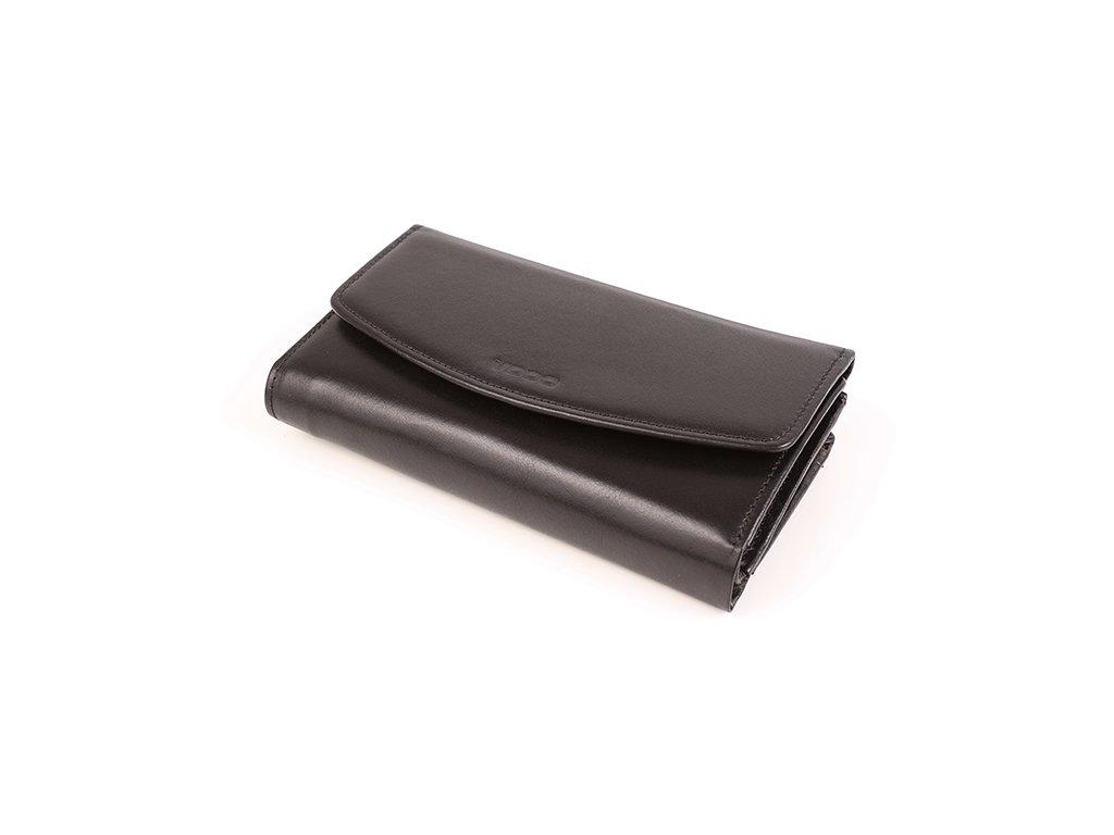 Velká dámská peněženka z pravé italské kůže; černá