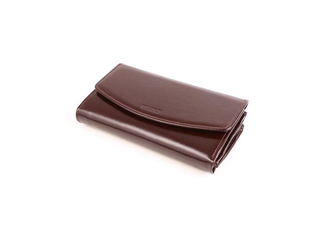 Velká dámská peněženka z pravé italské kůže; hnědá