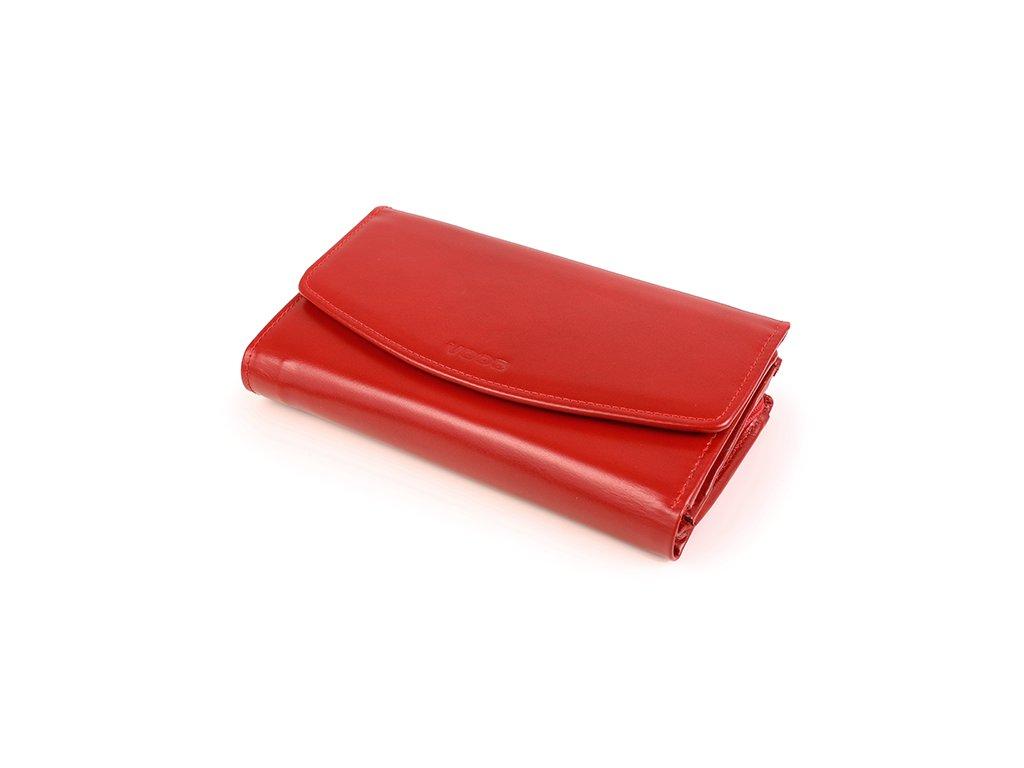 Velká dámská peněženka z pravé italské kůže; červená