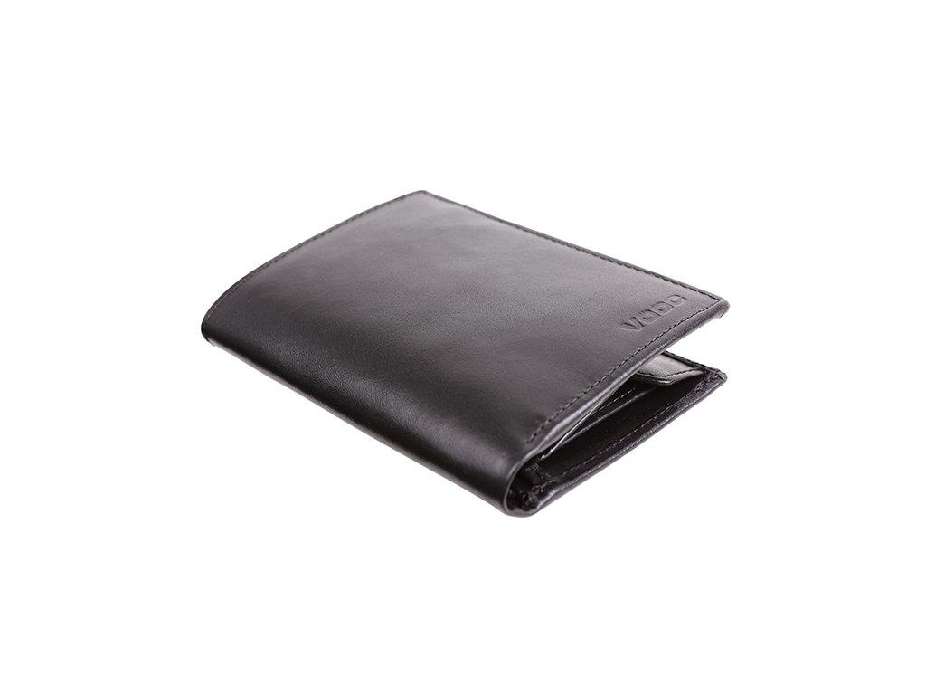 Premiová peněženka z pravé hladké kůže; černá