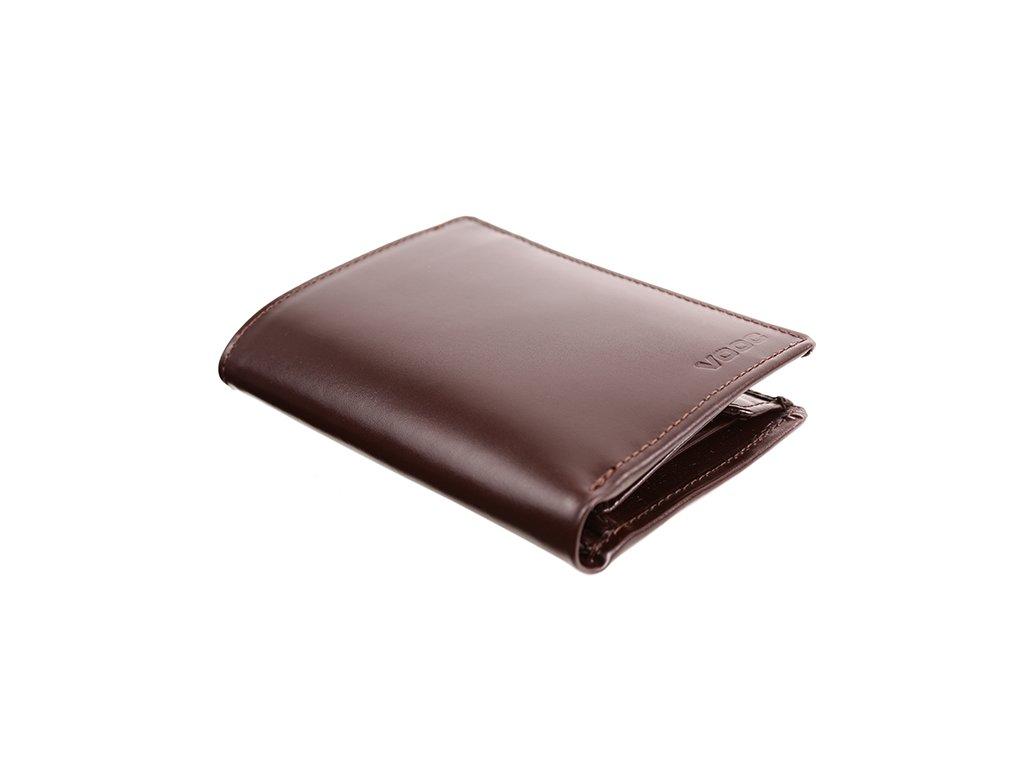 Premiová peněženka z pravé hladké kůže; hnědá