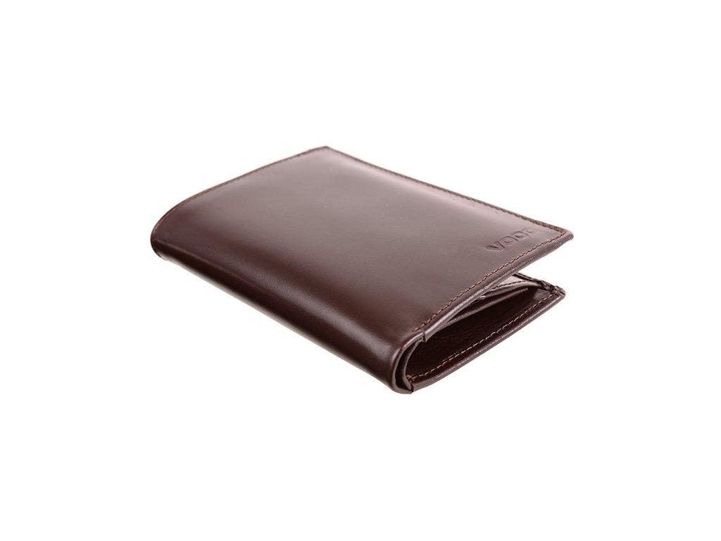 Kožená peněženka VOOC z pravé kůže; hnědá