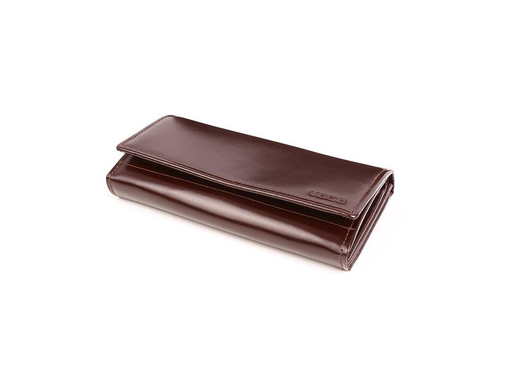 Velká prémiová peněženka VOOC z pravé italské kůže; hnědá