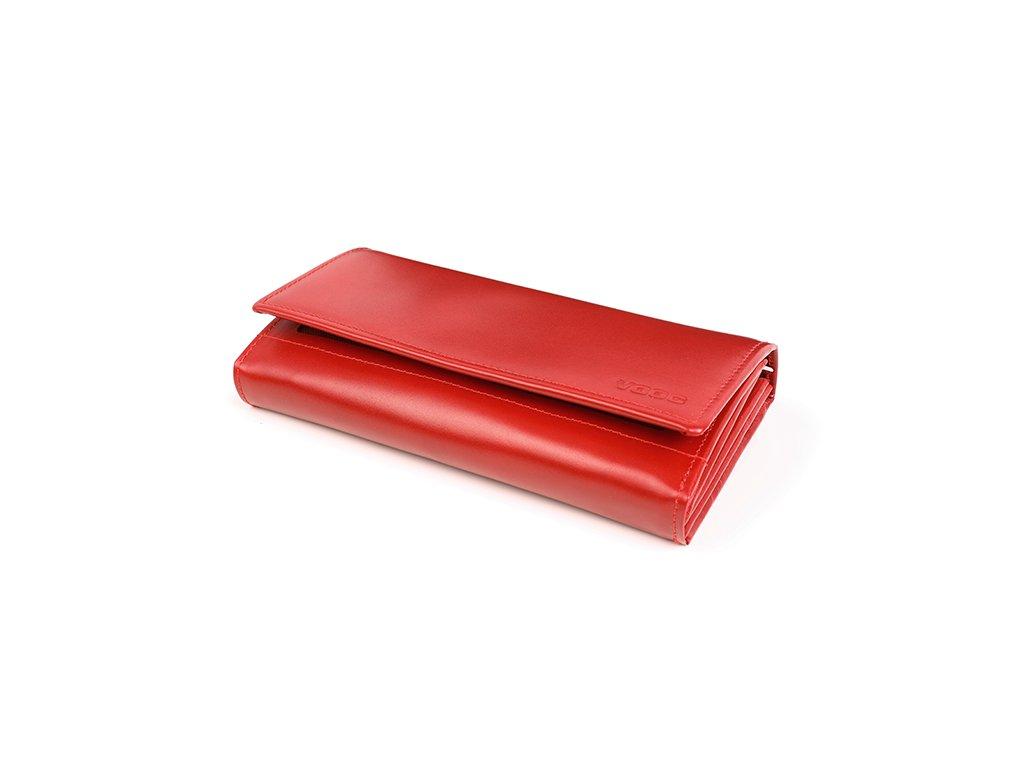 Velká prémiová peněženka VOOC z pravé italské kůže; červená