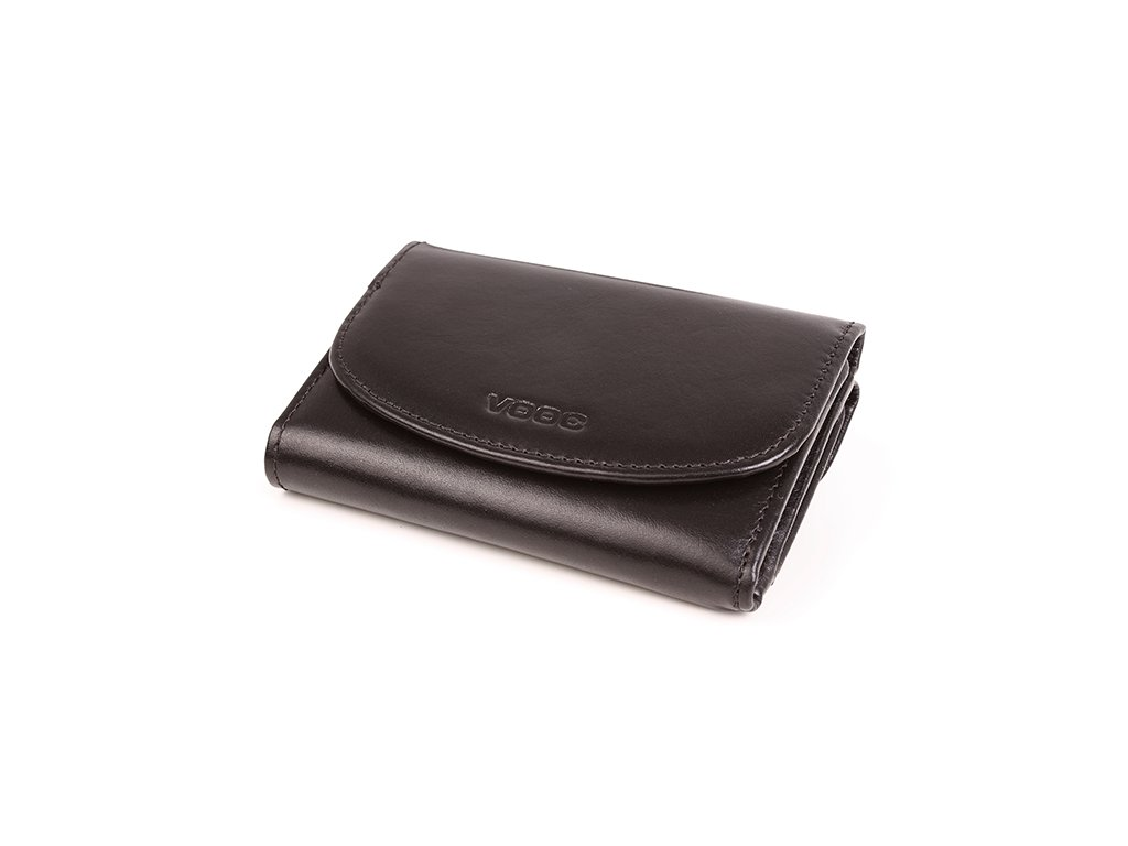 Funkční dámská peněženka VOOC z pravé kůže; černá