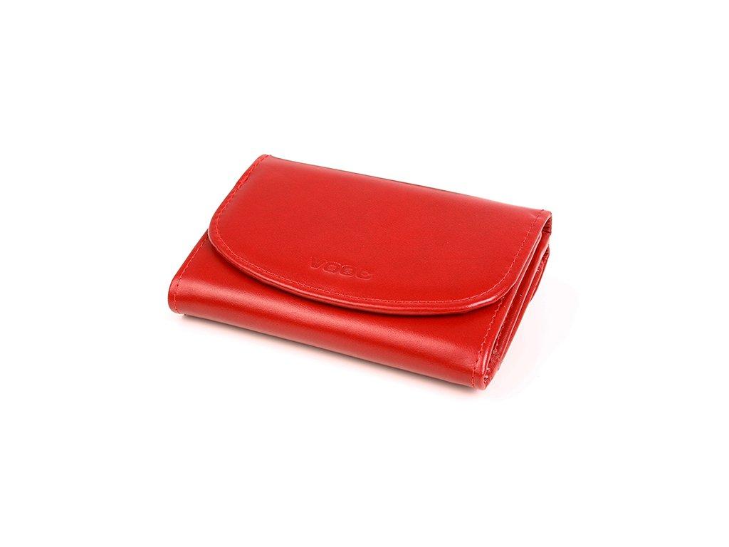 Funkční dámská peněženka VOOC z pravé kůže; červená