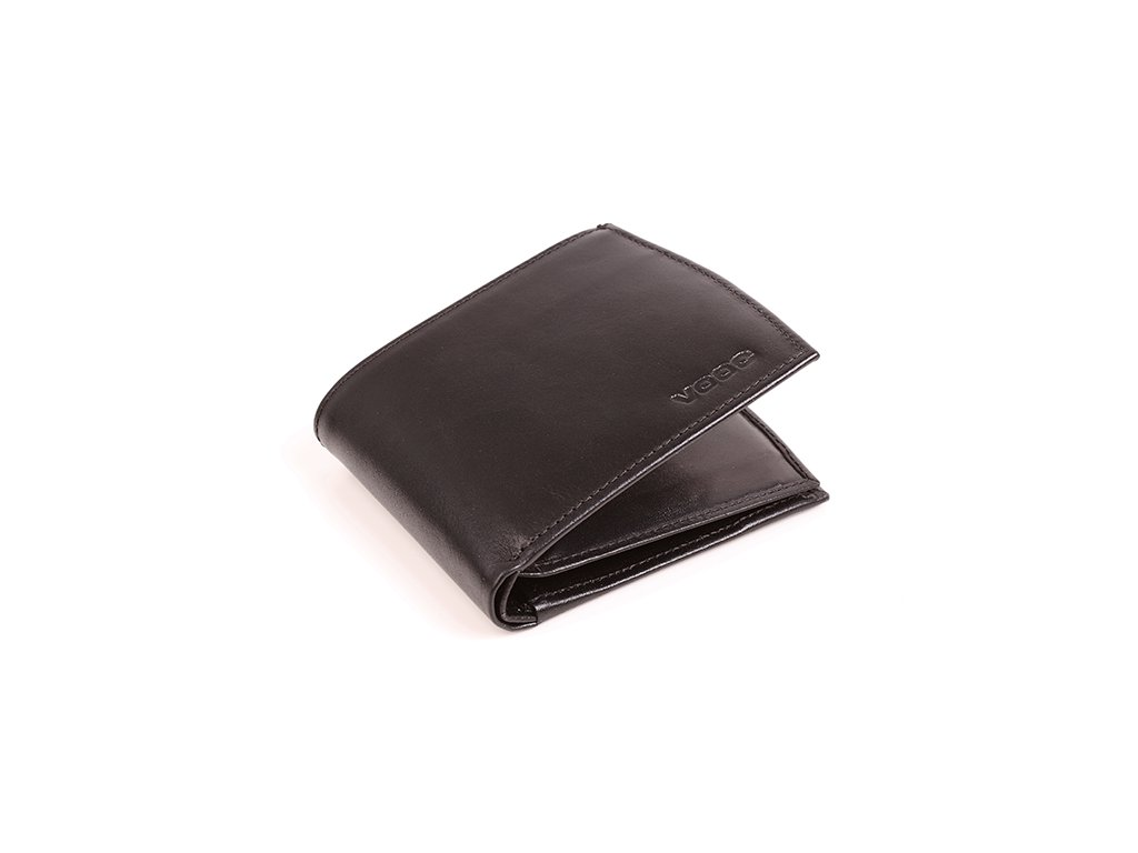 Komfortní kožená peněženka VOOC; černá