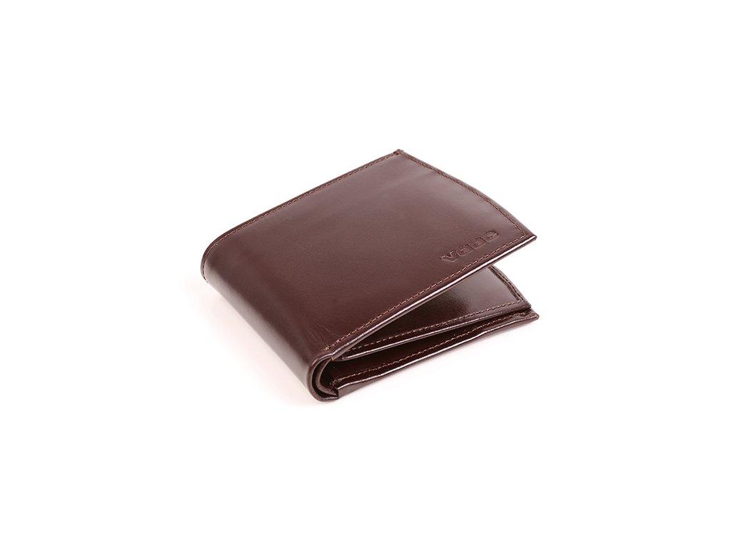 Komfortní kožená peněženka VOOC; hnědá
