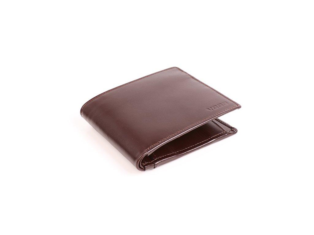 Pánská peněženka z pravé italské hladké kůže; hnědá