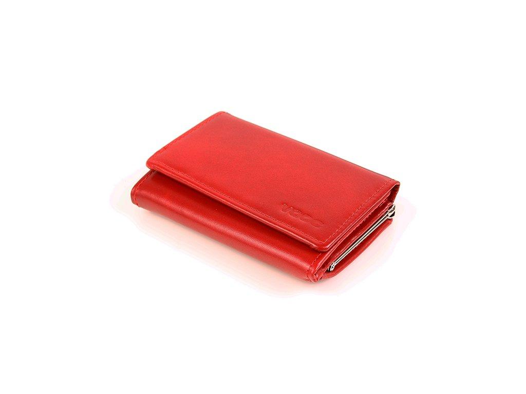 Luxusní kožená dámská peněženka VOOC; červená