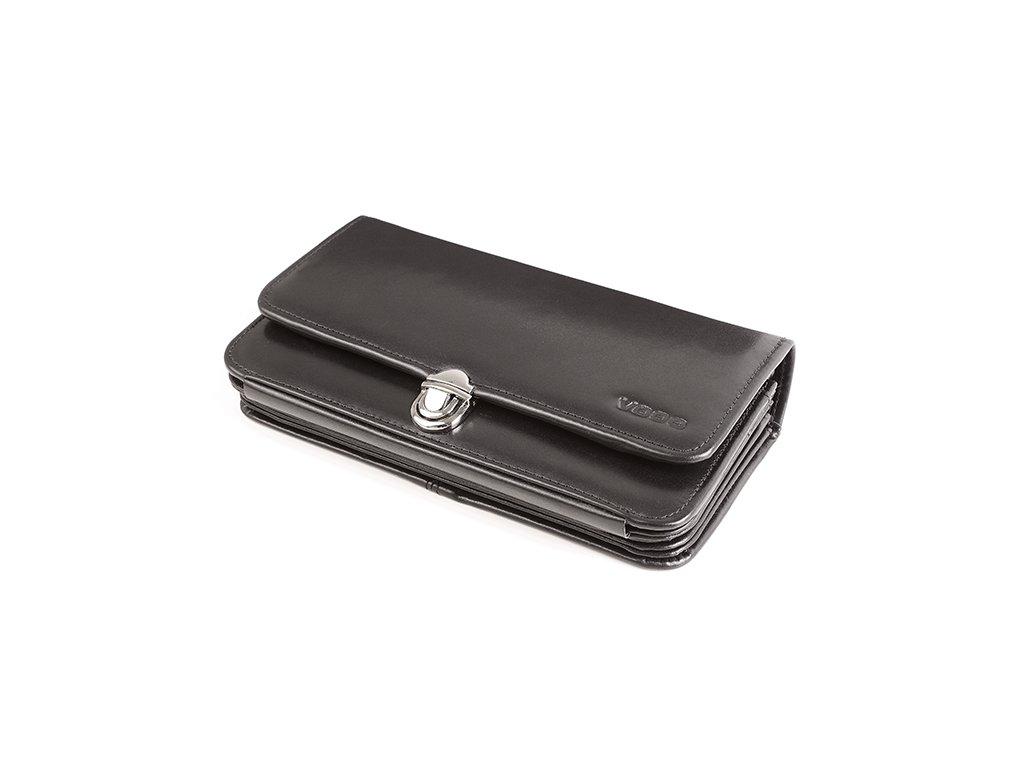 Velká kožená peněženka VOOC na zapínání s poutkem; černá