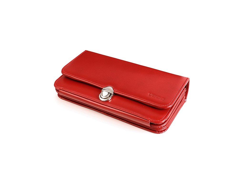 Velká kožená peněženka VOOC na zapínání s poutkem; červená
