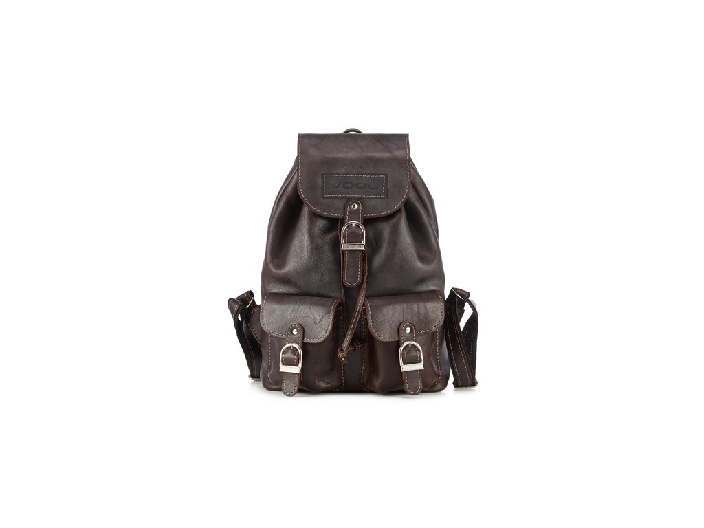 Prostorný retro batoh z pravé kůže, ručně vyrobený; hnědá