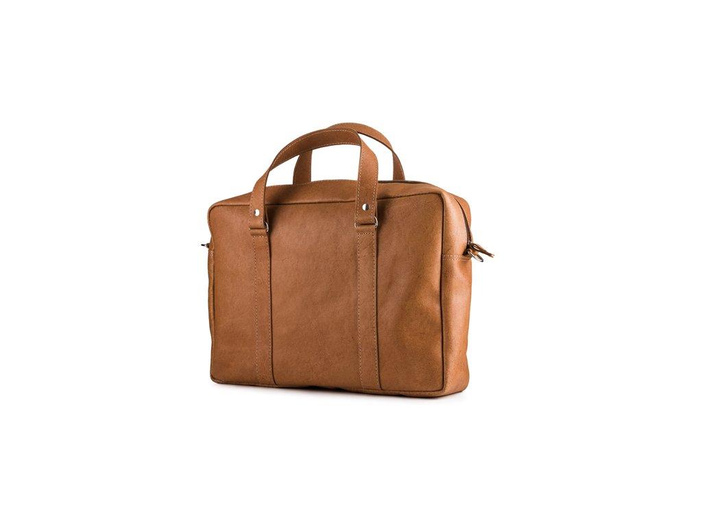 Kožená business taška pro každý den, ručně vyrobená; velbloud