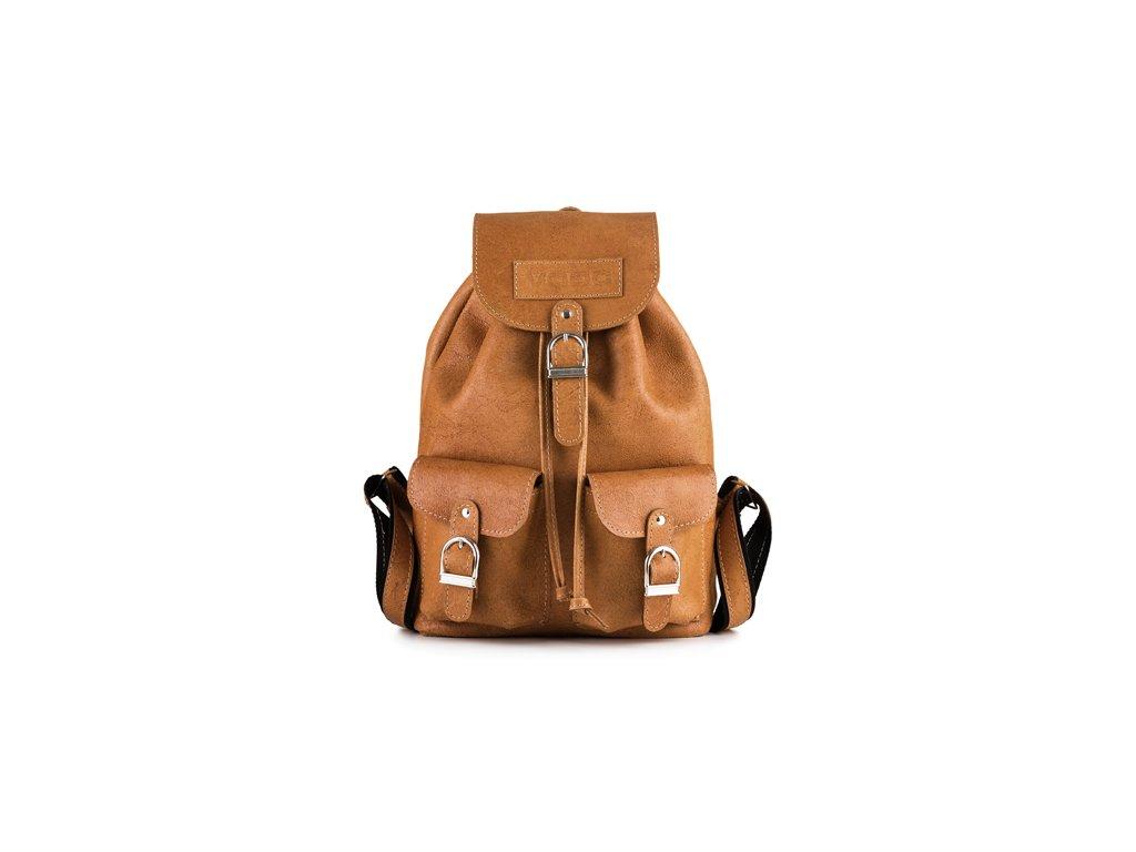 Prostorný retro batoh z pravé kůže, ručně vyrobený; velbloud