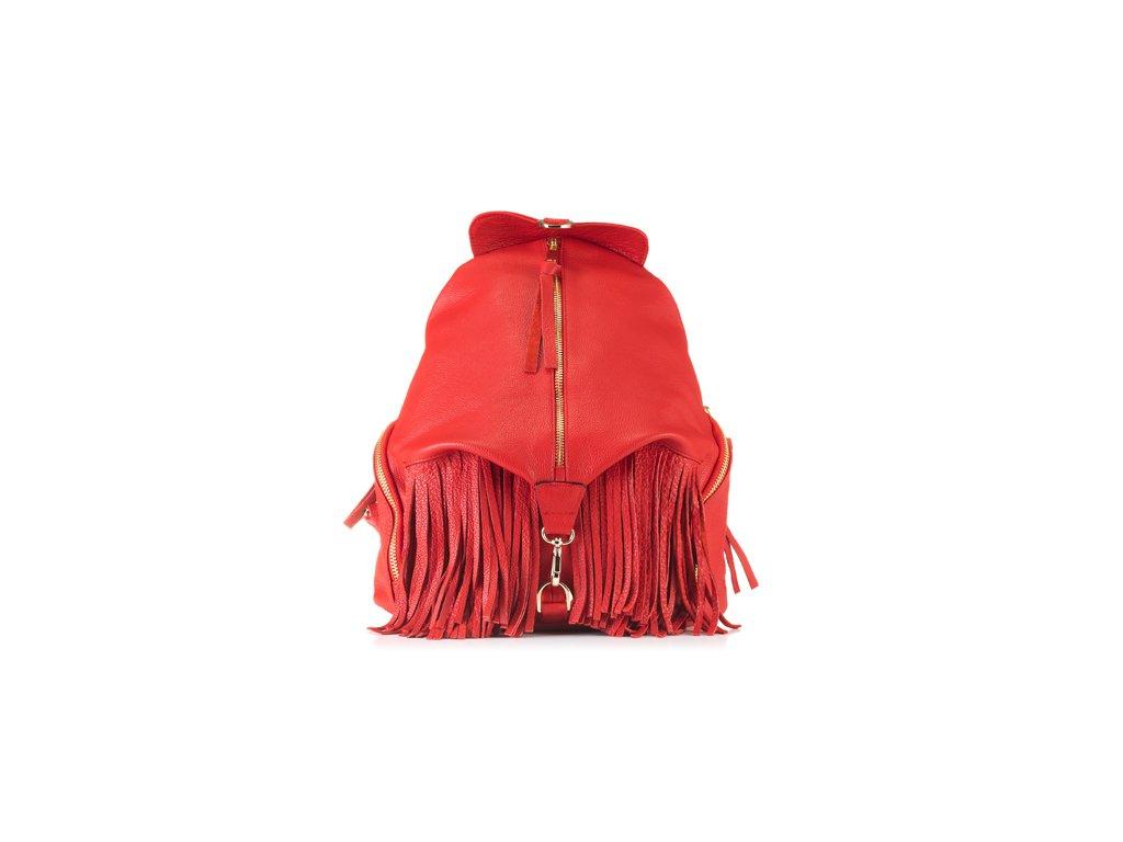 Batoh VOOC v boho stylu, pravá kůže; červená