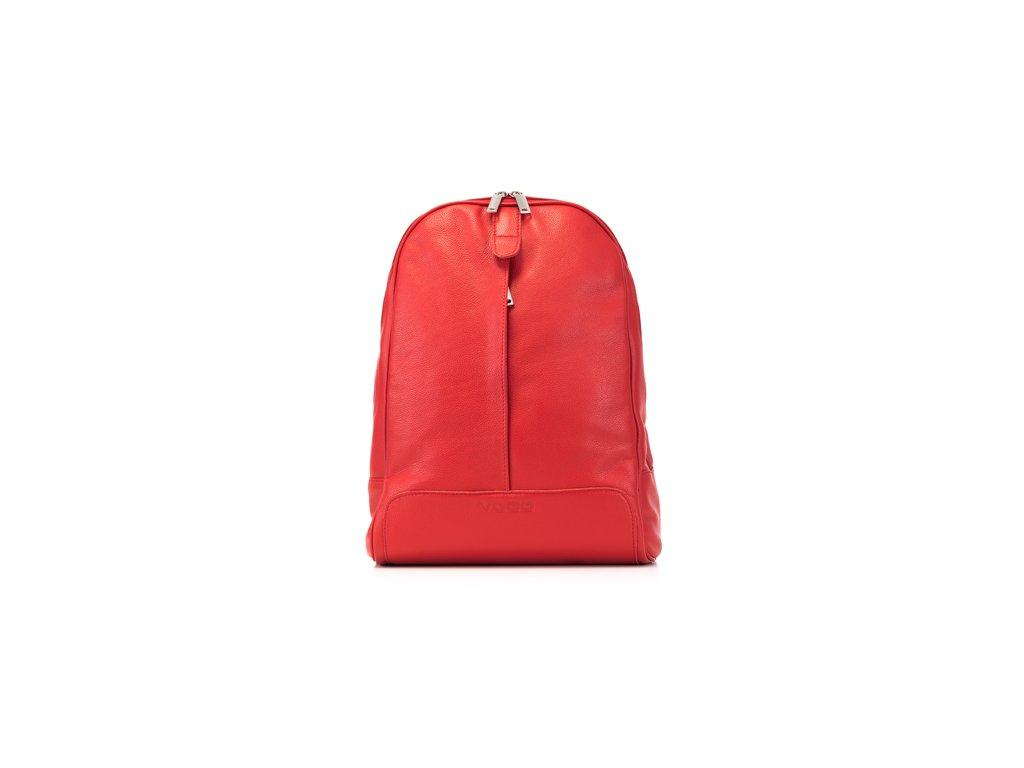 Elegantní městský batoh z pravé kůže; červená