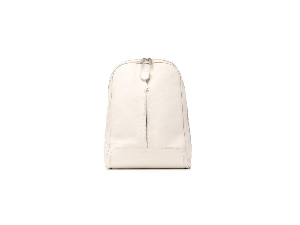 Elegantní městský batoh z pravé kůže; krémová