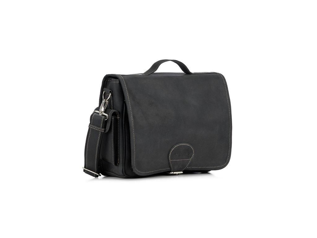 Městská kožená taška VOOC pro každý den; černá