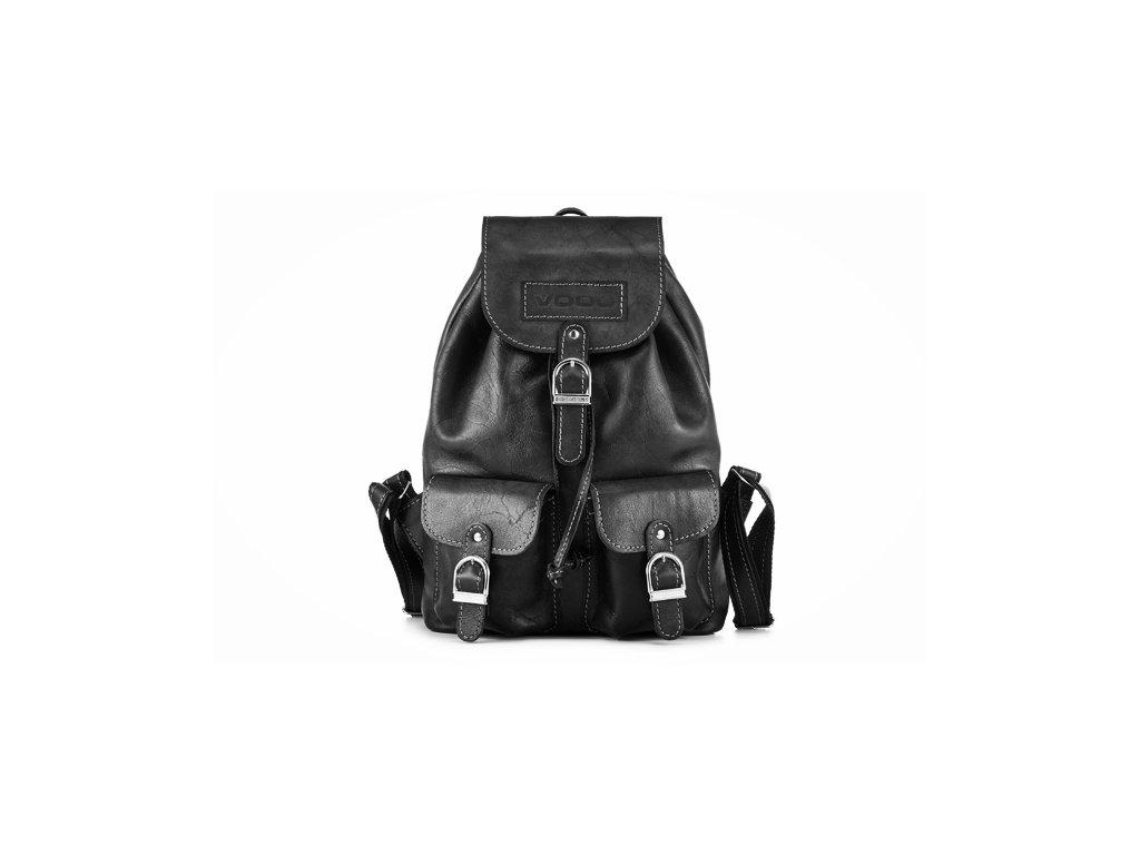 Prostorný retro batoh z pravé kůže, ručně vyrobený; černá
