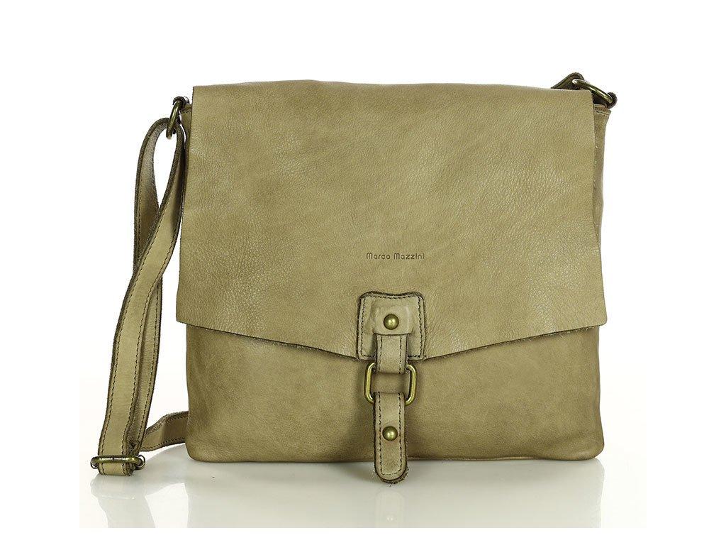 Městská kožená kabelka MARCO MAZZINI vintage; béžová