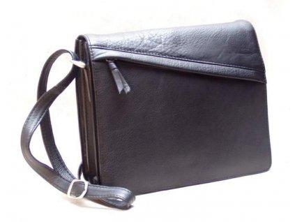 Kožená  dámská kabelka Arwel klopnová černá