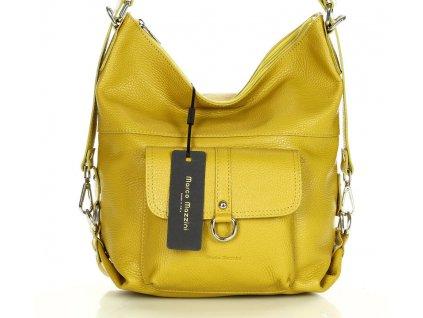 Žlutá kožená taška - batoh Alessia