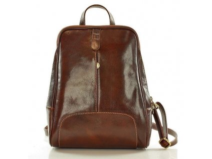 Italský kožený batoh MAZZINI GIRO; hnědá