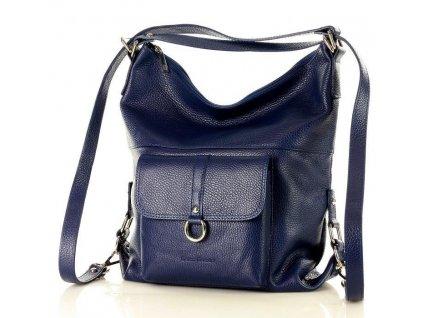 Italská kabelka i batoh MAZZINI z přírodní kůže; modrá