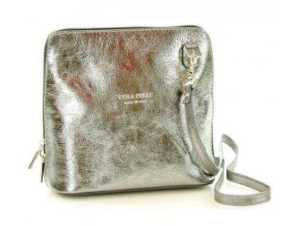 Italská kožená crossbody kabelka MAZZINI; stříbrná