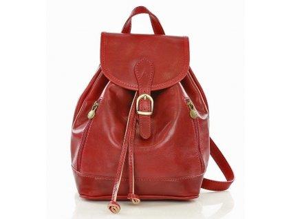 Italský kožený batoh SIMONE; červená
