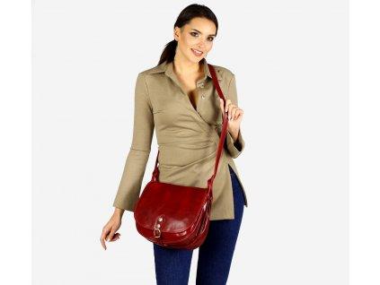 Mazzini - červená kožená kabelka přes rameno
