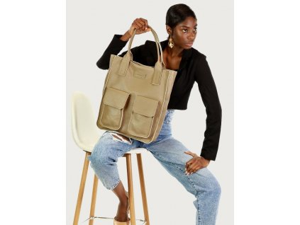 Značková shopper taška s kapsami MAZZINI; béžová