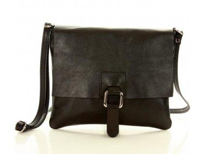 Italská crossbody kabelka MARCO MAZZINI z pravé kůže; černá