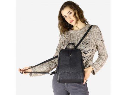 Italský kožený batoh MAZZINI - Capri Elegante; černý