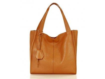 Módní italská kožená kabelka shopper MAZZINI; hnědá