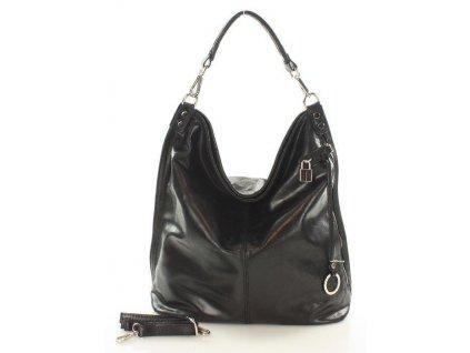 Italská nadčasová stylová kabelka kožená; černá