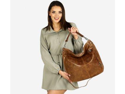 Italská nadčasová stylová kabelka kožená; hnědá