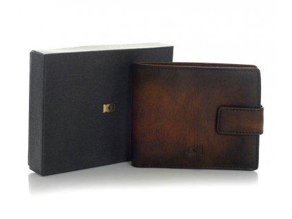 Značková pánská peněženka DAAG z pravé kůže; koňak