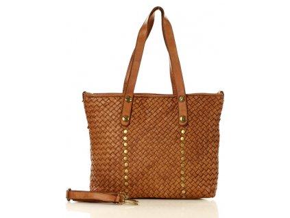 Nákupní kožená kabelka MAZZINI starý styl; hnědá