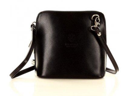 Italská kožená crossbody kabelka MAZZINI; černá
